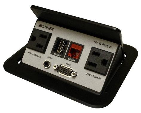 Altinex TNP328 Tilt 'N Plug Jr. Interconnect Box with VGA, Audio, HDMI, RJ45, and (2) Power TNP328