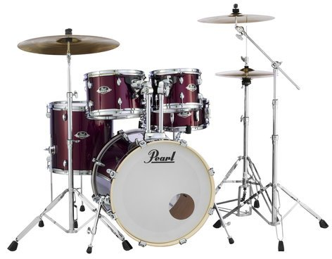 Pearl Drums EXX725S-91 EXX Export Series 5-Piece Drum Kit with Hardware in Red Wine Finish EXX725S-91
