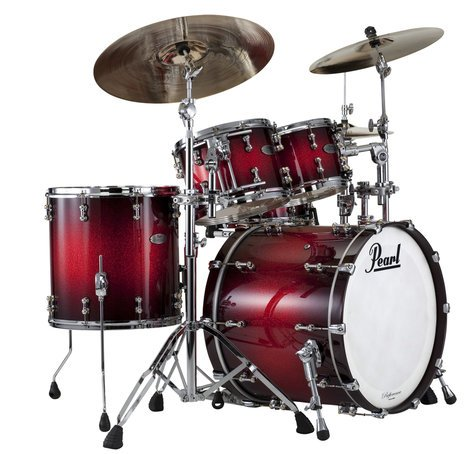 Pearl Drums RFP924XSP/377 4-Piece Reference Pure Shell Pack, Scarlet Sparkle Burst Finish RFP924XSP/377