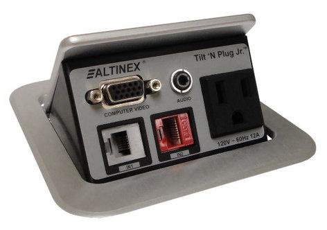 Altinex TNP121S  Tilt 'N Plug Jr. Tabletop Interconnect Box in Silver TNP121S