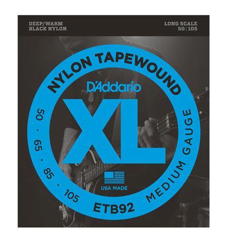 D`Addario ETB92  Black Nylon Tapewound Bass Strings, 50-105, Long Scale ETB92