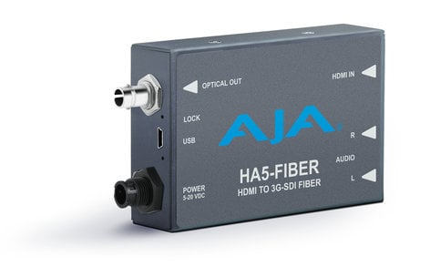 AJA Video Systems Inc HA5-Fiber HDMI to 3G-SDI over Fiber Video and Audio Mini-Converter HA5-FIBER