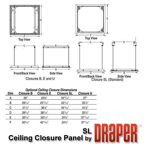 Draper Shade and Screen 300291  Ceiling Closure Panel for Scissor Lift SL4-12 300291