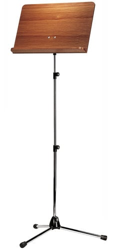 K&M Stands 11841 Orchestra Music Stand Chrome Stand with Walnut Wooden Desk 11841-KM