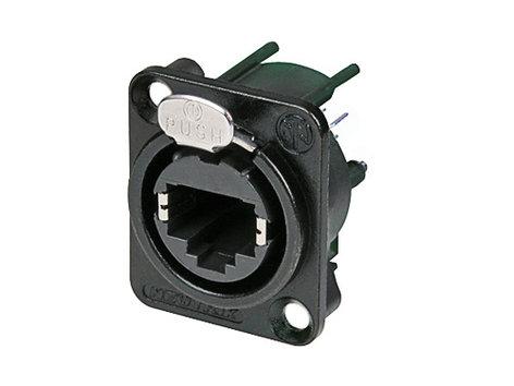 Neutrik NE8FDV-B  Vertical PCB Panel Mount etherCON D-Series RJ45 Receptacle, Black NE8FDV-B