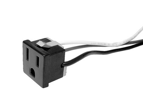 "Ace Backstage Co. C-90136 Edison Snap-In AC Outlet for Single Receptacle Stage Boxes with 3/16"" Faston Terminals C90136"