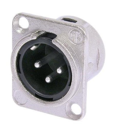 Neutrik NC3MD-L-1 3-Pin Male XLR Chassis Connector in Nickel Housing with Silver Contacts and Solder Cups NC3MDL-1