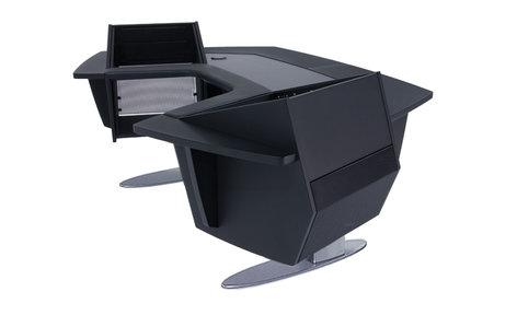 Argosy Consoles Aura 260S Sit-Stand Workstation with (2) 11RU Upper Racks A260S-LR-B-B