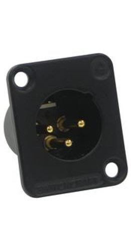 Switchcraft DE3MB  DE Series 3-Pin Male XLR Panel Mount Connector in Black DE3MB