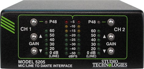 Studio Technologies Model 5205 2 Channel Mic/Line Input to Dante Interface MODEL-5205