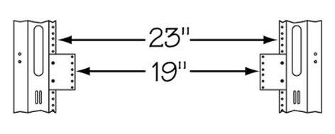 "Middle Atlantic Products 23-19-2 2RU Rackrail Reducer, 23"" W to 19"" W 23-19-2"