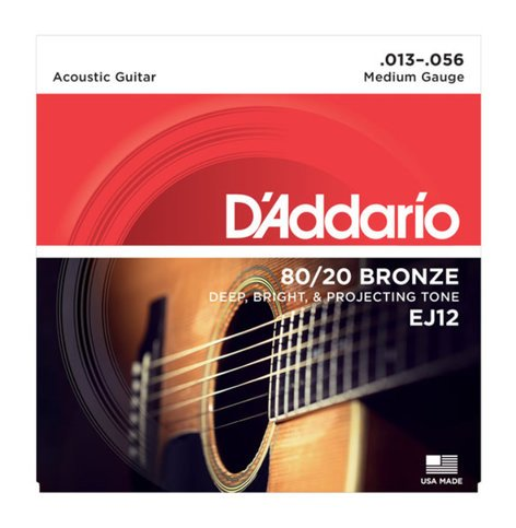 D`Addario EJ12  80/20 Bronze Acoustic Guitar Strings, Medium, 13-56 EJ12