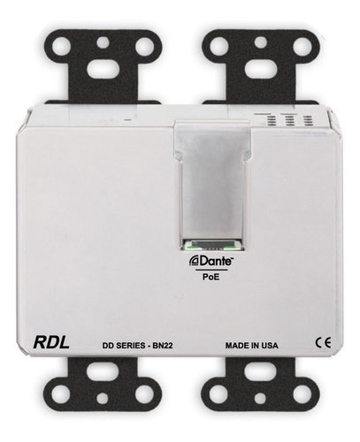 RDL DDB-BN22 Wall-Mounted Bi-Directional Mic/Line Dante Interface 2 x 2 DDB-BN22