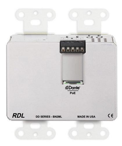 RDL DDB-BN2ML  Wall-Mounted Bi-Directional Mic/Line Dante Interface 2 x 2  DDB-BN2ML