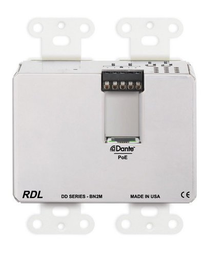 RDL DD-BN2M  Wall-Mounted Bi-Directional Mic/Line Dante Interface 2 x 2  DD-BN2M