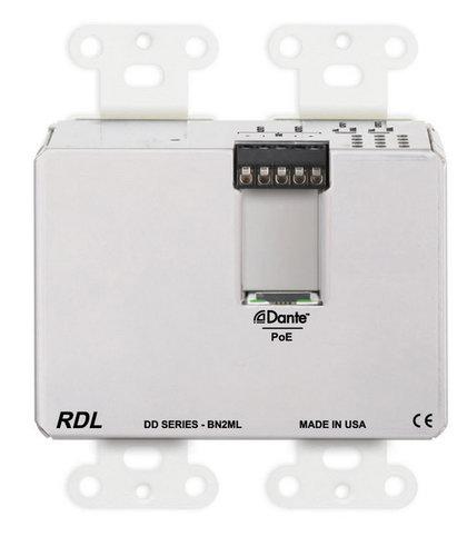 Radio Design Labs DD-BN2ML  Wall-Mounted Bi-Directional Mic/Line Dante Interface 2 x 2  DD-BN2ML