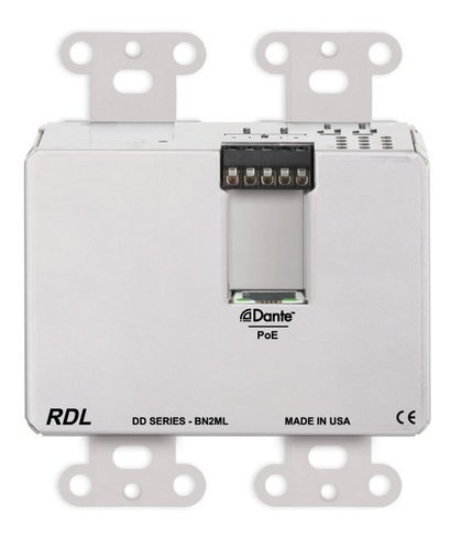 Radio Design Labs DDS-BN2ML  Wall-Mounted Bi-Directional Mic/Line Dante Interface 2 x 2  DDS-BN2ML