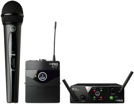 AKG WMS40 Mini Dual Set Vocal & Instrumental Wireless System with 1 Handheld & 1 Bodypack Transmitter WMS40-MIX-MINI-2