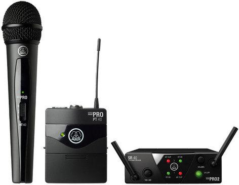 AKG WMS40 Mini Dual Set Vocal & Instrumental Wireless System with 1 Handheld & 1 Bodypack Transmitter WMS40-MIX-MINI-2