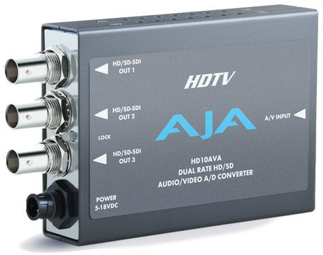 AJA Video Systems Inc HD10AVA Analog Video and Audio to SD/HD-SDI A/D Mini Converter with Power Supply HD10AVA