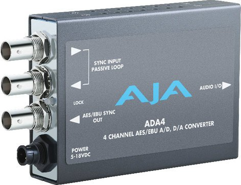 AJA ADA4 4 Channel Bi-Directional Audio A/D & D/A Mini Converter with Power Supply ADA4