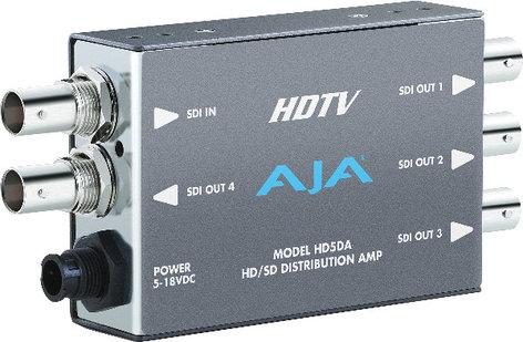 AJA Video Systems Inc HD5DA HD/SD-SDI Distribution Amplifier/Repeater with Power Supply HD5DA