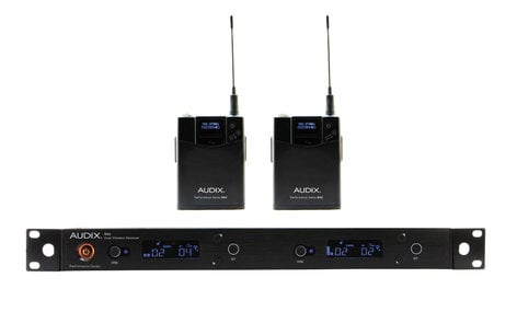 Audix AP42 BP R42 Two Channel Diversity Receiver with Two B60 Bodypack Transmitters, No Microphone AP42-BP