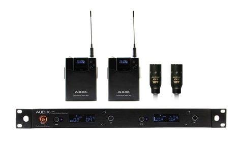 Audix AP42-L10  R42 Two Channel Diversity Receiver, Two B60 Bodypack Transmitters with Two ADX10 Lavalier Microphones AP42-L10