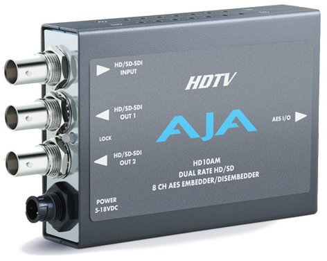 AJA Video Systems Inc HD10AM HD/SD 8 Channel AES Embedder/Disembedder with Power Supply HD10AM