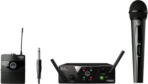 AKG WMS40 Mini Dual Vocal/Instrumental Set Package Dual Wireless System - HH and Beltpack - AB Band MINI2MIX-US25AB