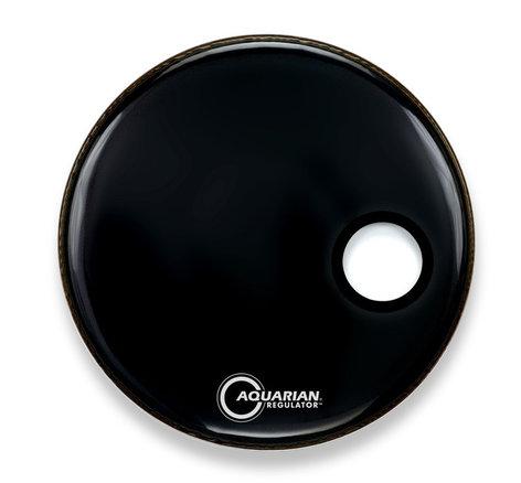 "Aquarian Drumheads RPT22 22"" Bass Drum with 7"" Hole, Black RPT22-BLACK"