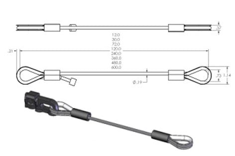 """ATM/Adaptive Technologies 3/16X2.5 Wire Rope Assembly, 3/16"""" x 2.5', Silver 3/16X2.5"""