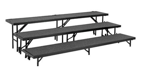 National Public Seating RT3LC Riser, 3 Level Tapered & Carpeted, Includes: RT8C, RT16C,RT24C RT3LC