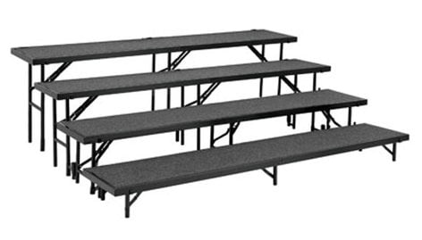 National Public Seating RT4LC Riser, 4 Level Tapered & Carpeted, Includes: RT8C, RT16C, RT24C, RT32 RT4LC