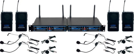 VocoPro UDH-PLAY 4 Four Channel UHF/DSP Hybrid Bodypack Wireless Microphone Package, Includes Bag UDH-PLAY-4-MIB
