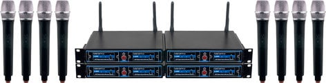 VocoPro UDH-CHOIR 8 Eight Channel UHF/DSP Hybrid Handheld Wireless Microphone Package, Includes Bag UDH-CHOIR-8-MIB