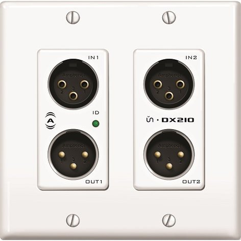 Attero Tech UNDX2IO-W-U  2x2 Channel 2 Gang US Wall Plate with XLR I/O, PoE, White Finish, UDP 3rd Party Control UNDX2IO-W-U