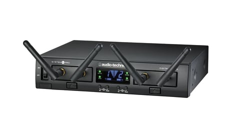 Audio-Technica ATW-1322 System 10 PRO Rackmount Dual-Channel Digital Wireless Handheld System with (2) ATW-T1002 Handheld Transmitters ATW-1322