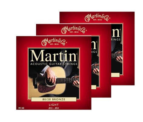 Martin Strings M140PK3 3-Pack of Light Martin 80/20 Bronze Acoustic Guitar Strings M140PK3