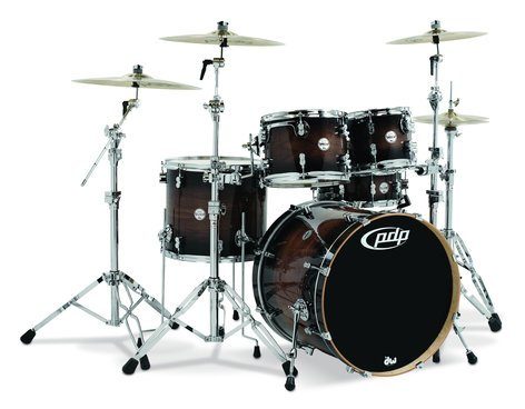 Pacific Drums PDCMX2215WC  5-Piece Concept Maple Exotic, Charcoal Burst Finish, Walnut Chrome Hardware PDCMX2215WC