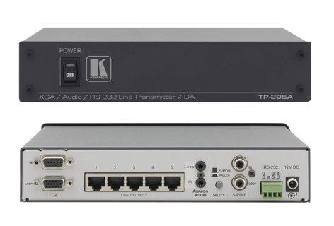 Kramer TP-205A 1:5 Computer Graphics Video, Audio & RS-232 Twisted Par Transmitter & Distribution Amplifier TP-205A