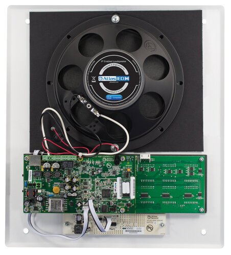Atlas Sound I8SCMF+  PoE+ Indoor Wall Mount IP Loudspeaker with LED Display, Paging Microphone, and LED Flashers I8SCMF+