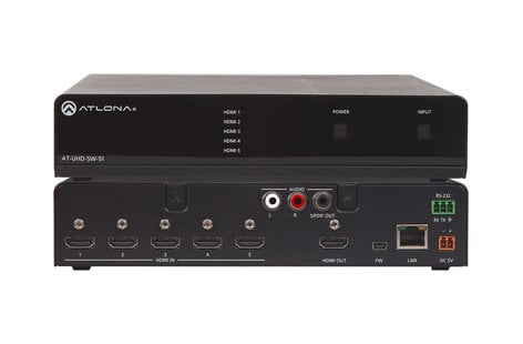Atlona Technologies AT-UHD-SW-51 4K/UHD 5 Input HDMI Switcher with Auto-Switching AT-UHD-SW-51