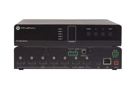 Atlona Technologies AT-UHD-SW-52 4K/UHD 5 Input HDMI Switcher with Mirrored HDMI Outputs AT-UHD-SW-52