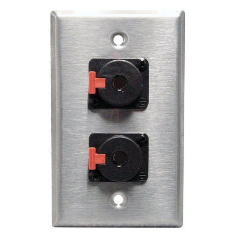 Rapco SP-2NL4  Single Gang Stainless Steel Wallplate with (2) Speakon Connectors SP-2NL4