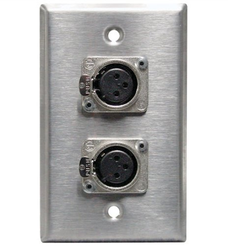 Pro Co SP-1DFN1DMN  Single Gang Stainless Steel Wallplate with (1) XLRF and (1) XLRM Connector SP-1DFN1DMN