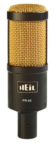 Heil Sound PR 40 Large Diaphragm Dynamic Super Cardioid Microphone, Black Body with Gold Screen PR40BG