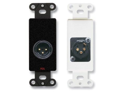 Radio Design Labs DB-XLR3M  3-Pin XLR Male Jack on Decora Wall Plate in Black DB-XLR3M