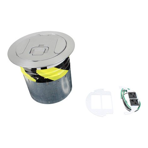 "FSR, Inc SF6-CPT-DD-ALM SmartFit 6 6"" Poke-Thru Floor Box with Brushed Aluminum Cover SF6-CPT-DD-ALM"
