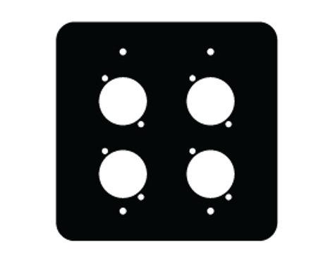 Mystery Electronics FP-2G-4-B  2 Gang FPG Series Black Wall Panel with 4 Neutrik D Cutouts FP-2G-4-B